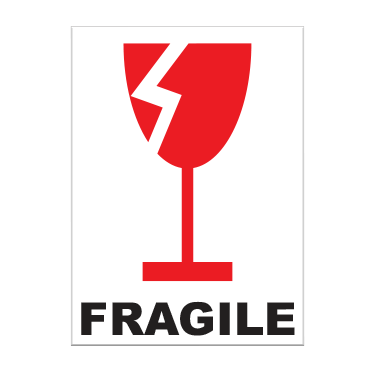Fragile With Broken Glass Label