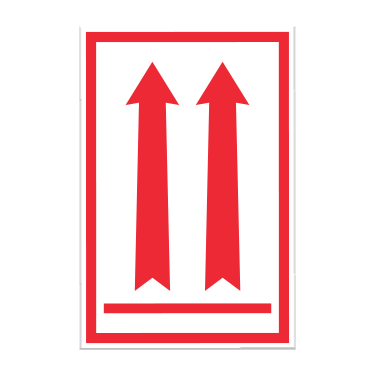 Package Orientation Red Arrow Labels